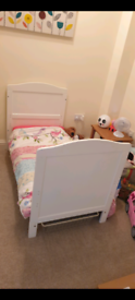 White Cot Bed and Mattress
