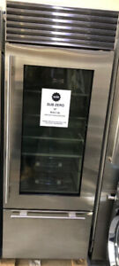 "Sub Zero 30"" Stainless Steel Glass Door fridge $8500 NEW tor"