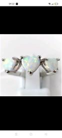 New 3 heart fire opal ring