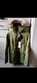 Mens Khaki Parka Faux Fur Warm Winter Jacket SMALL / SLIM MEDIUM.