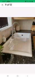 White ceramic 1.5 bowl kitchen sink