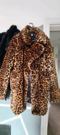 Fluffy boohoo leopard coat