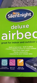 SILENTNIGHT DELUXE SINGLE AIRBED FOR INDOORS OR OUTDOORS