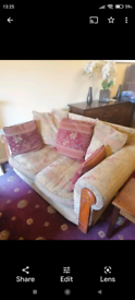 Furniture Village 1, 2, and 3 seater sofa suite + footstool.