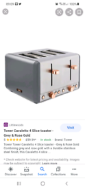 Brand new grey rose gold tower Cavaletto four slice toaster