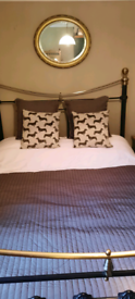 Double Wrought Iron and Brass bed with Mattress