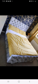 Double Crushed Velvet bed for sale with Mattress