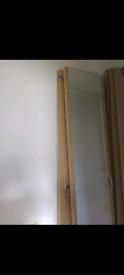 3 wardrobe doors 1 with mirror 213cmx44 cm beech