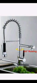 Kitchen sink pull out duel mixer tap