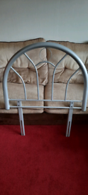 Single bed silver metal head board