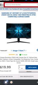 Samsung odyssey 32 inch gaming monitor