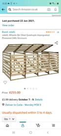 Quadruple wooden Bin Storage, brand new