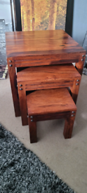 Indian Sheesham solid wood nest of 3 tables.