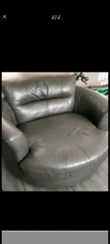 Large charcoal swivel cuddle chair