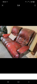 Reclining Leather Sofas (2 Seater + 3 Seater + Footstool) Red No Pets,