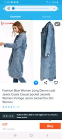 Ladies long denim coat BNWT