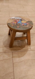 Kids Stool - hand painted engraved train
