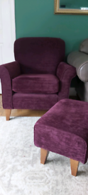 Next plum Armchair and footstool