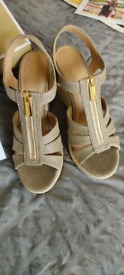Michael Kors Pale Gold Canvas Zipper Jute Platform Wedge Sandals.