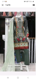 ready made asian suits SILK DIGITAL PRINT EMBELLISHED 3PC SUIT