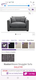 Grey snuggle sofa/ chair keaton weave