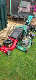 Job lot of spare repairs petrol lawnmowers and baskets