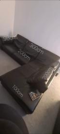 Black Leather Corner Sofa - DFS