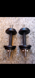 2 cast iron adjustable dumbbell weights