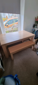 Dining room table with benches