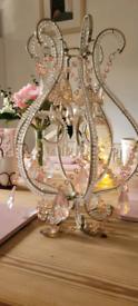 Sarkly Pink Glass Jewelled Chandelier Pendant