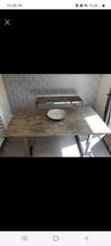Solid oak Dining table & sode unit