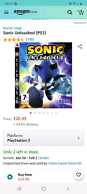 Sonic unleashed/ ps3 game in clean condition/ worth £28.99 on amazon