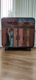 Drawers/cupboards made from reclaimed wood from fishing boats