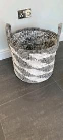 Home sense grey and white storage wicker basket