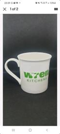 WREN KITCHEN limited edition white/green Coffee Kitchen Mugs