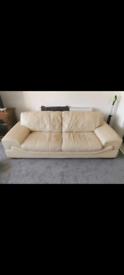 White Leather Sofa & Chair