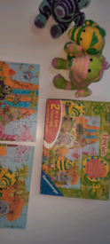 3 soft fimbles and 2 boxed jigsaws.