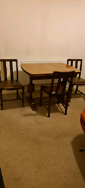 Antique extendable dining table & 3 chairs