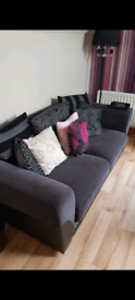 Sofa set 3 seater and 2 seater charcoal grey