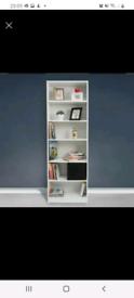 White tall 6 shelf bookcase