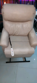 Beige Gplan Real leather Riser and recliner Armchair Used