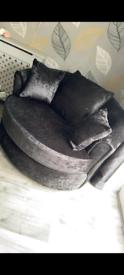 Black Crushed Velvet Swivel Chair
