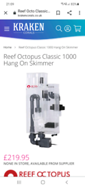 Reef octopus hang on the back protein skimmer