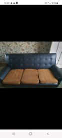 Vintage / retro 3 seater sofa & 2 chairs