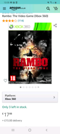 Rambo the video game Xbox360/mint condition disc like new/cash or swap