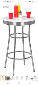 White and chrome American retro bar stool table