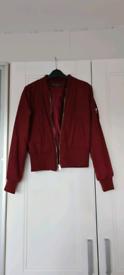 Miss Selfridges Marron Zip Bomber Jacket