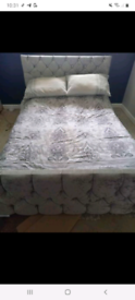 Crushed velvet double bed without mattress