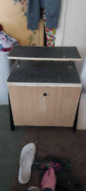 Vintage light and dark pull down small cabinet