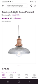 Brooklyn glass dome and brass industrial pendant light